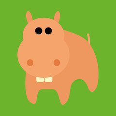 Adorable Cartoon Hippo Isolated On Background