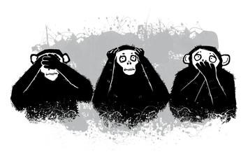 Three Monkeys - symbols. Author's illustration