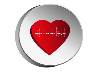 Pulse and heart.Symbol of medical icons design.