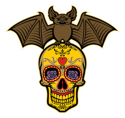 bat stand over the sugar skull