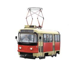 Illustration of old trolleybus isolated on white background