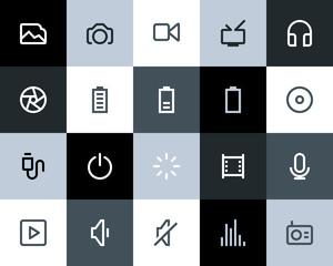 Multimedia icons. Flat