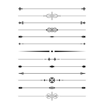 Divider set. Calligraphic design elements.