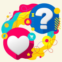 Heart and question mark on abstract colorful splashes background