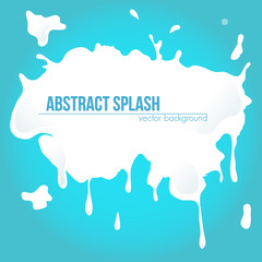 Big white milk splash. Vector abstract background.