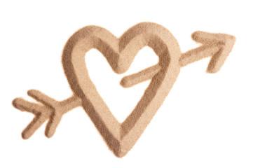 Valentine sign sculptured in sand