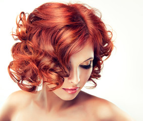 Spoed Fotobehang Kapsalon Beautiful model red with curly hair