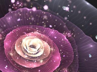 Canvas Afdrukken  - pink abstract flower with sparkles