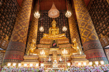 beautiful buddha image in phra ubosot at Wat Hong Rattanaram Rat