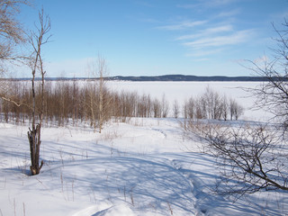 shore of the lake in winter