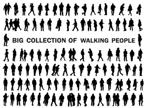 Silhouettes walking, dancing, playing, skating, caring bags