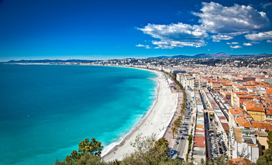 Panoramic view of Nice coastline and beach, France.