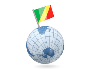 Globe with flag of republic of the congo