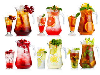 Set of nonalcoholic cocktail in jugs and glasses with fruits and