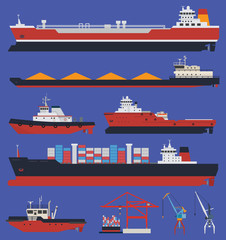 Cargo ships and tug boats infographic