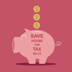 Piggy bank  saving money  Vector illustration EPS10