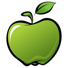 Cartoon shiny delicious green vector fresh apple with leaf