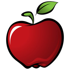 Cartoon shiny delicious red vector fresh apple with green leaf