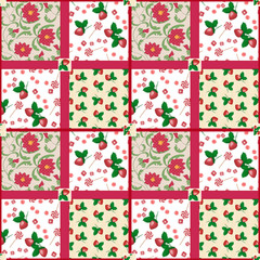 Patchwork seamless pattern strawberry floral