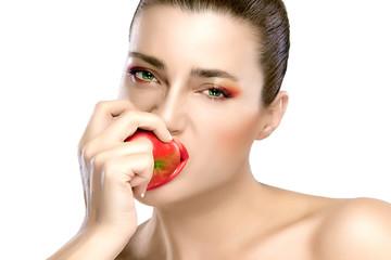 Beautiful Brunette Girl Biting an Apple