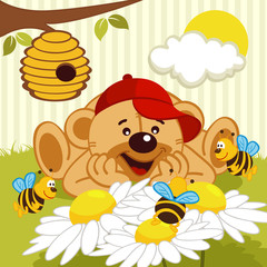 teddy bear watching bees on daisy - vector illustration