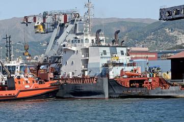 tug ship in the port