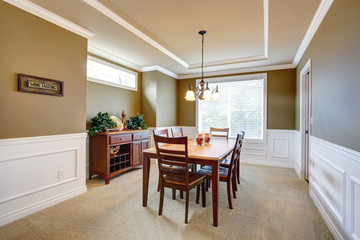 Dining room with white  wall trim