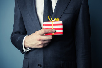 Businessman with small gift