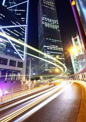Hong Kong city with traffic trail