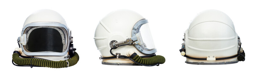 Acrylic Prints Nasa Set of astronaut helmets isolated on a white background.