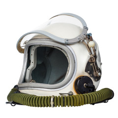 Astronaut's space helmet isolated on a white background.