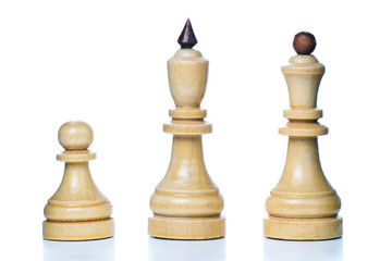 Wooden chess-men isolated on a white background