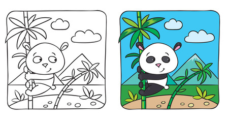 Little panda coloring book