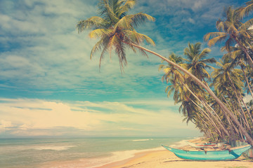 Wooden boats under palm trees on tropical beach Wall mural