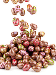 Decorated easter eggs falling