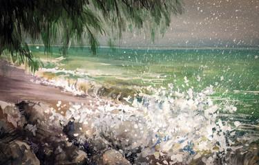 Landscape - sea, waves and coast .