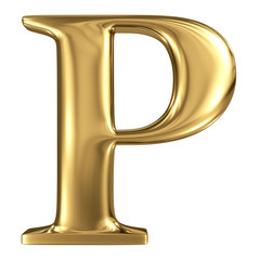 Golden letter high quality 3d render isolated on white