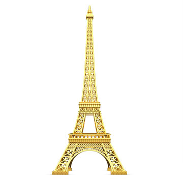 3d golden  Eiffel Tower metallic