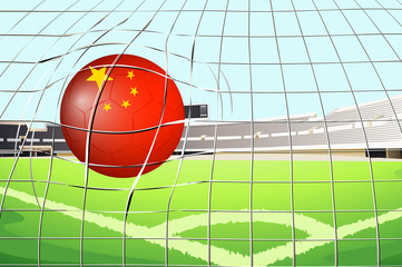 A soccer ball at the field with the flag of China