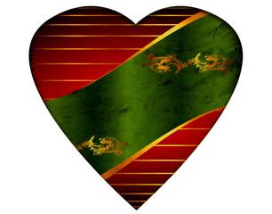 Weisses Herz - Grüne Banderole