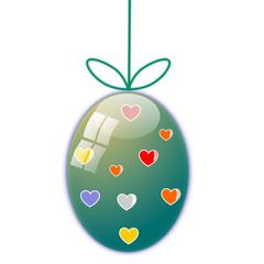 Uovo di Pasqua con cuori