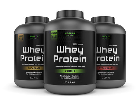 Three whey protein jars isolated on white