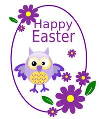 Cartolina di buona Pasqua con gufo