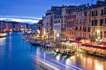 Venice by night from the Rialto bridge