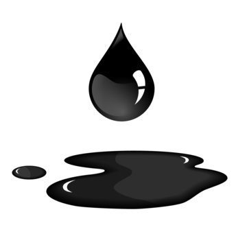 Black oil drop and spill