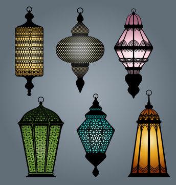 High quality vector set of arabic lantern part 2