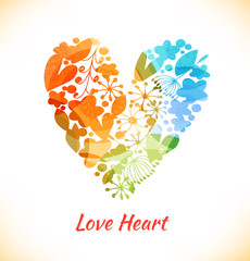 Ornate multicolor heart with many cute details