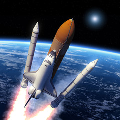 Fotobehang - Space Shuttle Solid Rocket Boosters Separation