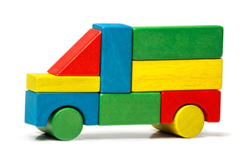 toy truck, multicolor car wooden blocks, transport over white