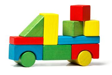toy truck, multicolor car wooden blocks transportation cargo